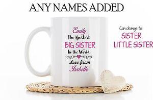 Personalised Best Big sister Little sister Mug Cup Christmas Birthday sis