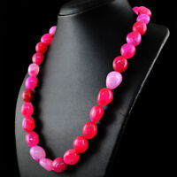 Genuine 753.00 Cts Earth Mined Untreated Pink Onyx Beads Single Strand Necklace