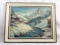 Originale Alpine Landscape Olio Pittura Medio Secolo con Cornice Firmato Kent