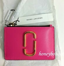 NEW Marc Jacobs M0013359 Snapshot Top Zip Leather Card Holder wallet Pink Multi