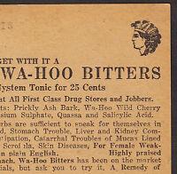 Wa-Hoo Indian Bitters C.K. Wilson Nerve Kidney Blood Cure Rheumatism Trade Card