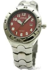 New Lorus Men Red Dial Easy To Read Steel Dress Date Watch 42mm LR0781