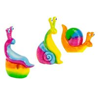 Set of 3 Brightly Coloured Garden Snail Ornaments
