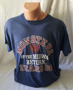 True Vintage Chicago Bears Paper Thin Tee Shirt Monsters of the Midway 1980 XL