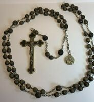 † SCARCE XL ANTIQUE FRANCISCAN MONK'S CROWN 7 DECADE ROSARY TRI CROSS W/ MEDAL †