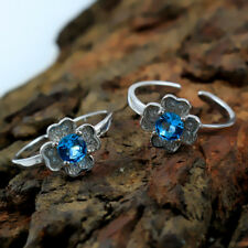 Toe Ring Christmas Sale Blue Zircon 925 Solid Sterling Silver In-1765