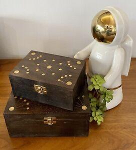 POTTERY BARN Sputnik Inlay Midcentury Mango Wood Box - Large