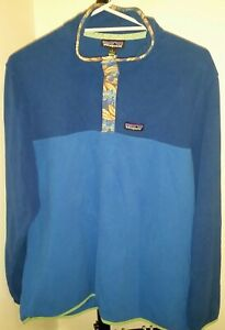 Patagonia Micro D Snap T Pullover Large Bayou Blue