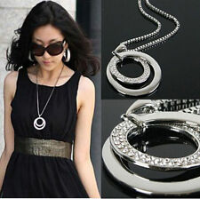 Pretty Women's Double Circle Crystal Rhinestone Long Chain Pendant Necklace
