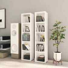 2x CD Cabinets High Gloss White Chipboard Media Storage Rack Bookcase