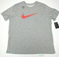 Nike Swoosh Tee Shirt Dri-Fit Grey Orange Running Training Crew 839893-063 NWT