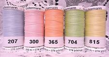 5 NEW 274 yard Spools light colors GUTERMANN 100% polyester sew-all thread