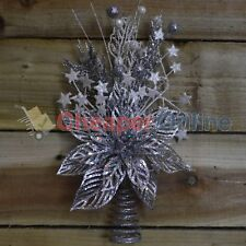 33cm Beautiful Floral Christmas Tree Topper by Premier Decorations - Silver