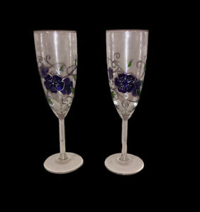 Cloisonne Stain glass Champaign Glasses Floral Purple Silver Toasting Wedding