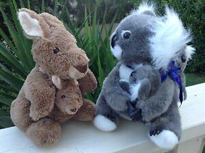 Kangaroo & Koala with babies large Plush Native Australian Animal Toys