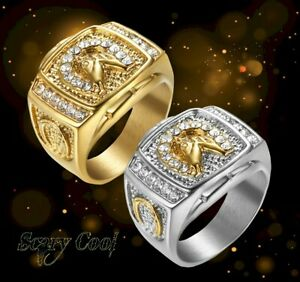 New Horse Horseshoe Lucky Crystal Luck Mens Silver Gold Gothic Biker Ring