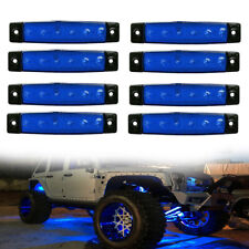 8pcs Blue Truck Van Side Body LED Safety Width Lamp Light Rock Light Accessories