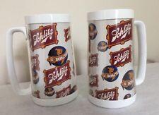 2 Vintage Schlitz Beer Steins Insulated Plastic Mugs Thermo-Serv USA World Globe