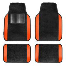Carpet Floor Mats With Orange Trim Fit Most Car, Truck, Suv, or Van