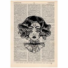 Surreal Moon Eyes Steampunk Dictionary Print OOAK, Mystic, Art, Unique, Gift,