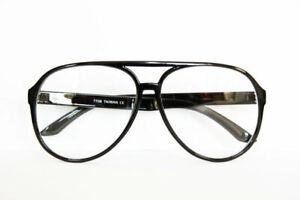 Nerd Brille XL Klarglas Streberbrille schwarz Oversize 38