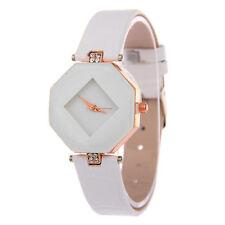 Ladies Fashion Rose Gold Diamond Shaped White Faced White Band Wrist Watch.