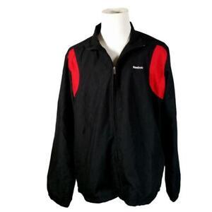 Reebok Black Jacket Men's XL Meshed Lined Red Poly 2 Pockets Drawstring Zipper