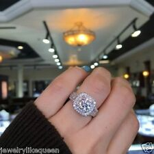 2.25 CT Round Cut moissanite Delicated Diamond Halo Engagement Ring 925 Silver
