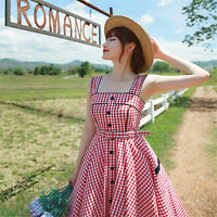 Women's Vintage Hepburn 50'S Rockabilly Plaid Dress Party Swing Evening Retro