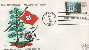 VAN NATTA ARKANSAS STATEHOOD HAND PAINTED HP FIRST DAY COVER FDC