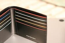 New Paul Smith Men's Black Leather Multi-Stripe Paisley Print Billfold Wallet