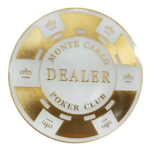 Monte Carlo White Gold Dealer Button Metal Matching for Monte Carlo Poker Chips