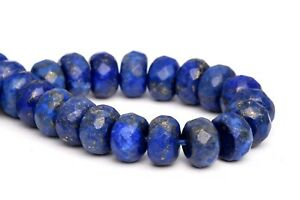 """8x5MM Natural Lapis Lazuli Grade A Faceted Rondelle Loose Beads 7.5"""""""