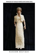 Princess Diana Porcelain Portrait Doll beaded dress - With beaded crown