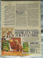 1985 Magazine Advertisement Ad Page Purina Fit & Trim Dog Food Happy Cat Food