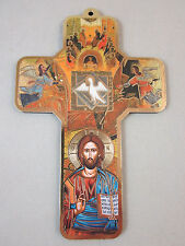 "Pentecost Icon Picture Wall Cross on Wood  5"" Made in Italy"