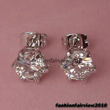 New 18K White Gold GP Crystal inlay one Solitaire Stud Earrings IE051B
