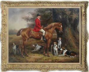 """Hand-painted Old Master-Art Antique Oil Painting hunt dog on canvas 30""""X40"""""""