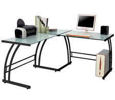 Modern Glass Top Computer Desk Black/Clear Corner L-Shaped Office Gaming