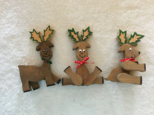 Handcrafted Hand Painted Wood Crazy Fun Reindeer Lot of 3