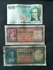 LOTTO 3 BANCONOTE REPUBBLICA ITALIANA 500 1000 5000 LIRE
