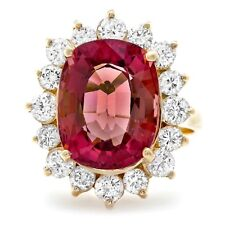 8.85 Carats Natural Tourmaline and Diamond 14K Solid Yellow Gold Ring