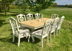 French Inspired Extending Table and 8 Chairs ~ Farrow & Ball