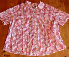 Marks and Spencer Ladies Pink Butterfly Short Sleeve Cotton Blend Blouse 16
