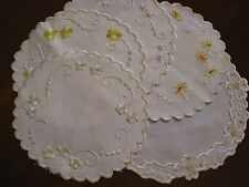 Set Of 5 Exquisite Antique Society Silk Embroided Doilys~Excellent Cond