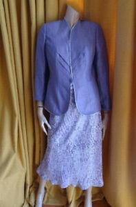 (AUG205) Size 10 *JACQUES VERT* Chic lilac 3 piece skirt suit wedding/races