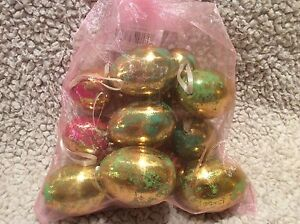 NEW Bag Of 12 Gold Metallic / Colorful Easter Egg Eggs Decoration Ornaments
