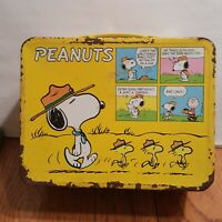 Peanuts Charlie Brown Snoopy Yellow Vintage Metal Lunchbox 1965 No Thermos
