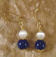 Blue Glass & White Cat's Eyes Beads Gold Plated Pierced Earrings NIB