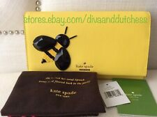 Kate Spade Down the Rabbit Hole Applique Bee Yellow Leather Tally Clutch Purse